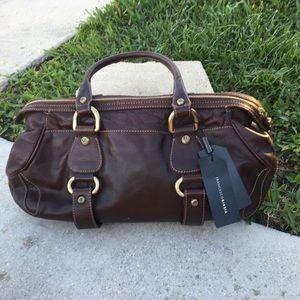 Francesco Biasia Brown & Gold Leather Shoulder Bag